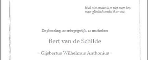In memoriam Bert van de Schilde