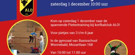 Pietentraining a.s. zaterdag 1 december om 10:00 uur