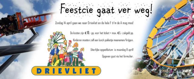 De Feestcie gaat naar Drievliet op zondag 14 april!